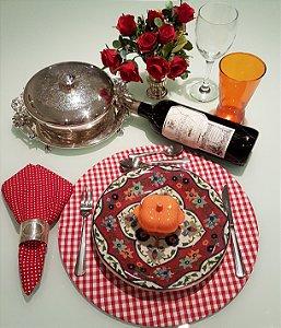 Capa de tecido para sousplat xadrez vermelho com branco