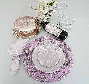 Capa de tecido para sousplat bandana lilas