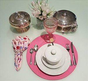 Capa de tecido para sousplat rosa medio liso
