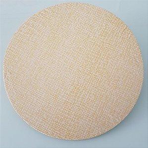 Capa de tecido para sousplat riscadinho dourado