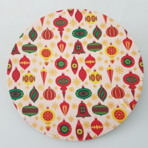 Capa de tecido para sousplat bolas de natal
