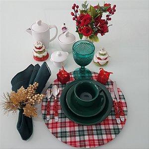 Capa de tecido para sousplat quadriculados vermelho verde e branco