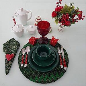 Capa de tecido para sousplat chevron verde