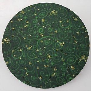 Capa de tecido para sousplat verde com estrelinhas douradas natal