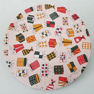 Capa de tecido para sousplat caixas de presente natal