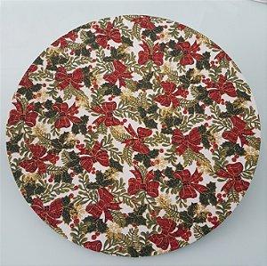 Capa de tecido para sousplat laços vermelho natal