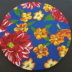 Capa tecido chita azul marinhos com flores menores amarelas