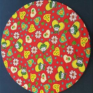 Capa tecido de chita vermelho com corações amarelos