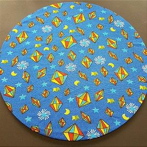 Capa tecido de Chita azul marinho com balão