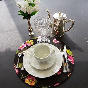 Capa tecido de CHITA preto com flores rosa