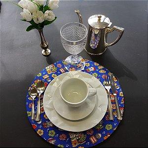 Capa tecido de CHITA azul com casal junino