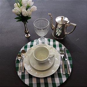 capa tecido xadrez verde