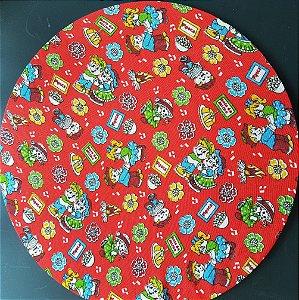 capa tecido de chita vermelho com casal junino