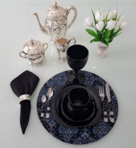Capa tecido bandana preta com azul