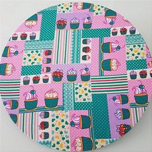 capa tecido sousplat docinhos verdes fundo lilas rosa
