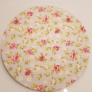Capas de tecido sousplat flores rosa com o fundo verde clarinho