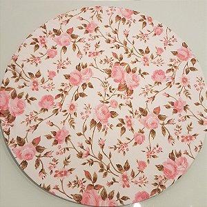 Capas de tecido sousplat  felores rosa clarinho e fundo creme