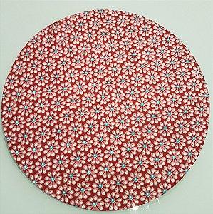 Capas de tecido sousplat flor goiaba com miolo azul