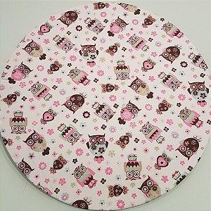 Capa Sousplat Corujas rosa e marrom fundo branco