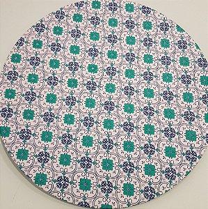 Capa Sousplat Mosaico azul e verde com fundo branco