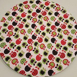 Capa Sousplat  Maçãs vermelha verde preta pequenas fundo branco
