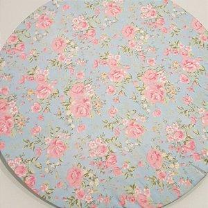 Capa Sousplat flores rosa clarinha fundo azul clarinho