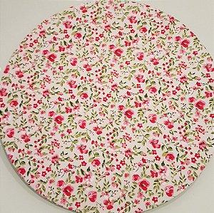Capa Sousplat flores rosas vermelhas rosas branca pequena folhas verdes fundo branco