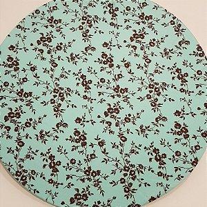 Capa Sousplat flores folhas marrons fundo verde azulado