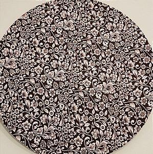 Capa Sousplat flores folhas brancas fundo preto