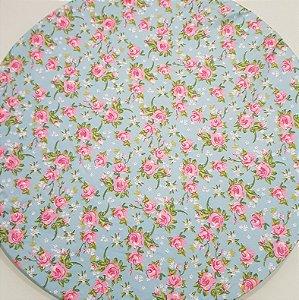 Capa Sousplat flores rosa pequena contorno pink folhas verdes fundo azul vivo