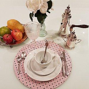 Capa Sousplat Poás marrom e Bolinhas fundo rosa chá