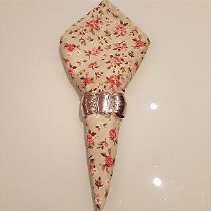 Guardanapo algodão fundo verde com rosas 0,42cm