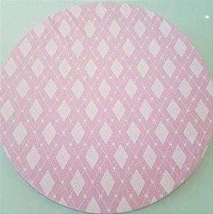 Capa Sousplat mosaico com losangulos rosa bebe