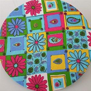 Capa Sousplat tecido rustico flores azul