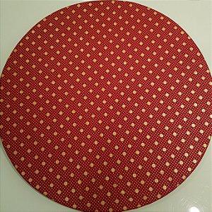 Capa de tecido sousplat fundo vermelho com bolinhas grande e pequenas douradas