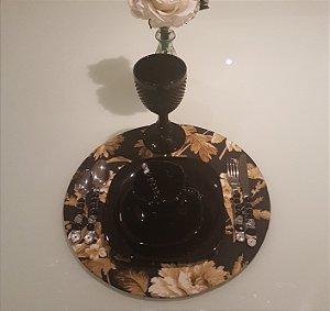 Capa de tecido rustico sousplat fundo preto com flor e passaro bege