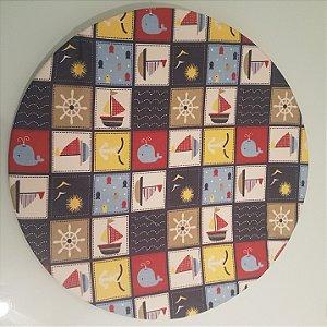 Capa de tecido sousplat mosaico marinho