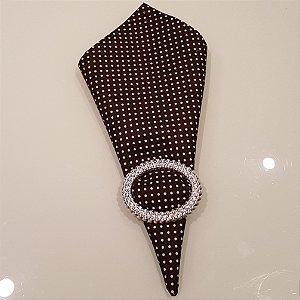 Guardanapo algodão marrom com poás creme 0,42 cm
