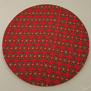 Capa sousplat fundo vermelho com folhinhas verdes