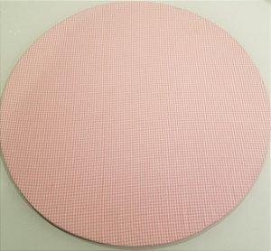 Capa de tecido para sousplat quadriculado rosa claro com branco
