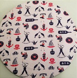 Capa de tecido para sousplat marinheiro