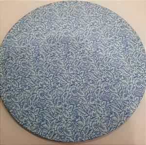 Capa de tecido para sousplat flores azul claro em linhas azul escuro