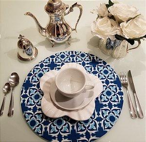 Capa de tecido para sousplat mosaico azul com branco