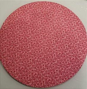 Capa de tecido para sousplat flores rosas com fundo rosa claro e bolinhas