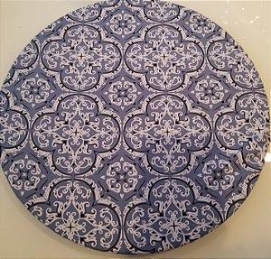 Capa de tecido para sousplat bandana azul jeans