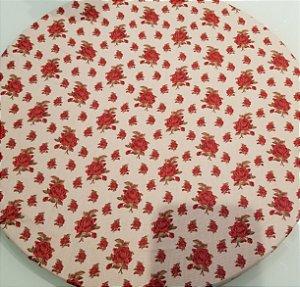 Capa de tecido para sousplat fundo bege com brotos de rosa