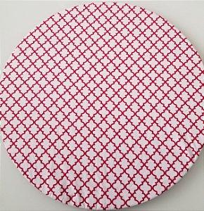 Capa de tecido para sousplat mosaico vermelho fundo branco