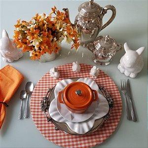 Capa de tecido para sousplat xadrez laranja