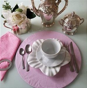 Capa de tecido para sousplat listrado rosa com branco
