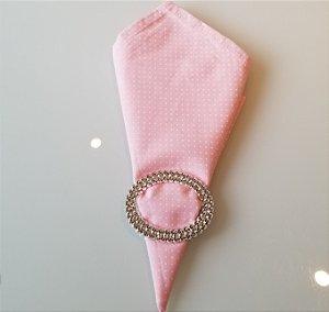 Guardanapo rosa bebe com bolinhas branca